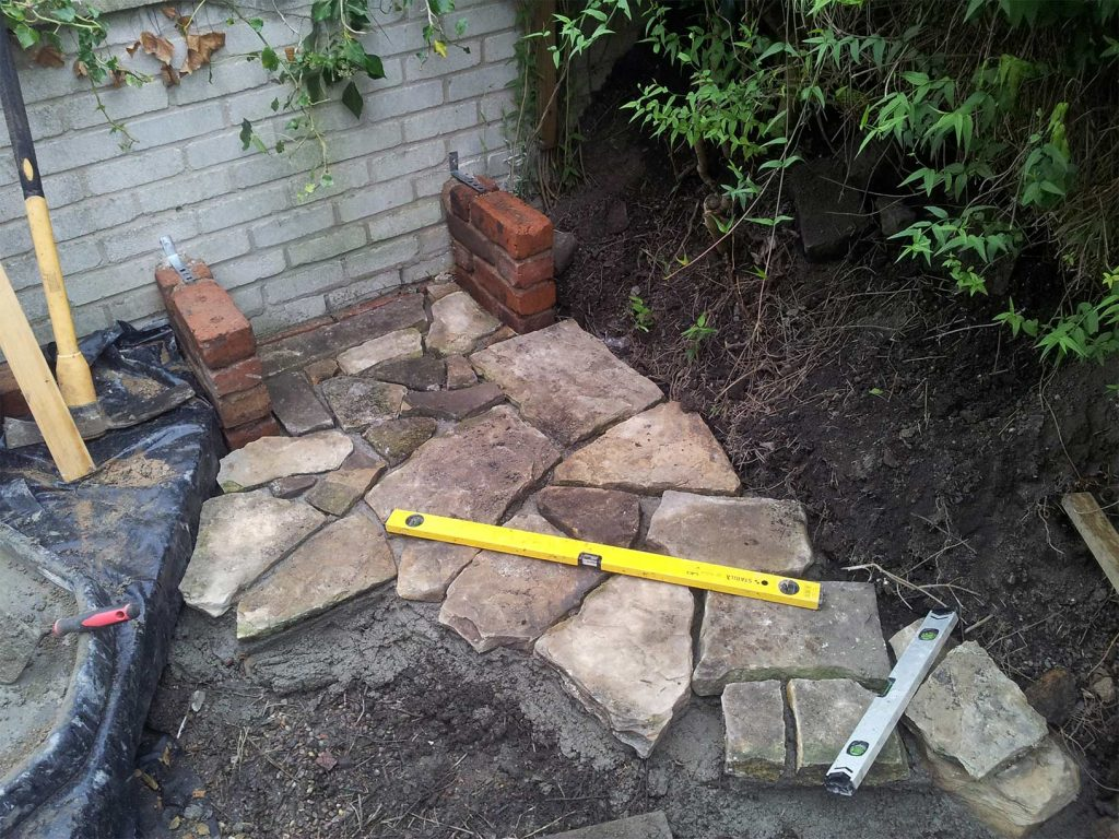 Laying the patio stones